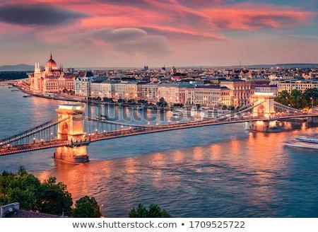 宮殿 · チェーン · 橋 · ブダペスト · 美しい · 日没 - ストックフォト © givaga