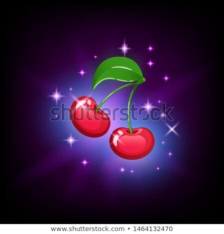 Heldere Rood kers groen blad sleuf icon Stockfoto © MarySan
