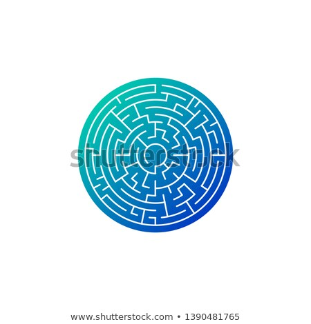 circle maze in blue gradient icon, Vector illustration isolated on white background Stock photo © kyryloff
