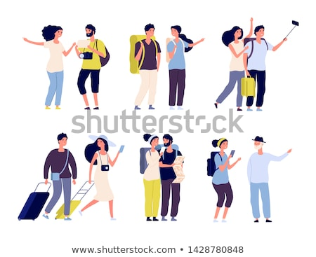 young couple of tourists with luggage vector stock photo © robuart