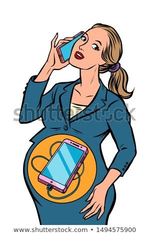 女性実業家 妊娠 電話 生まれる 胃 コミック ストックフォト © rogistok