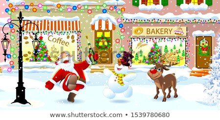 Santa Claus, deer and snowman on a snowy city street Stock photo © liolle