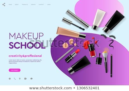 Makijaż app interfejs szablon studentów słuchania Zdjęcia stock © RAStudio