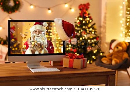 Mikulás kívánságok szalag üdvözlőlap boldog új évet karácsony Stock fotó © Olena