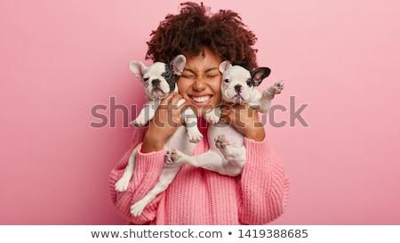Afbeelding gelukkig gekruld vrouw grappig weinig Stockfoto © vkstudio