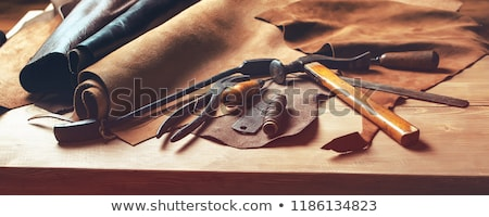 Leather Craft Tools On Desk Stock photo © AndreyPopov