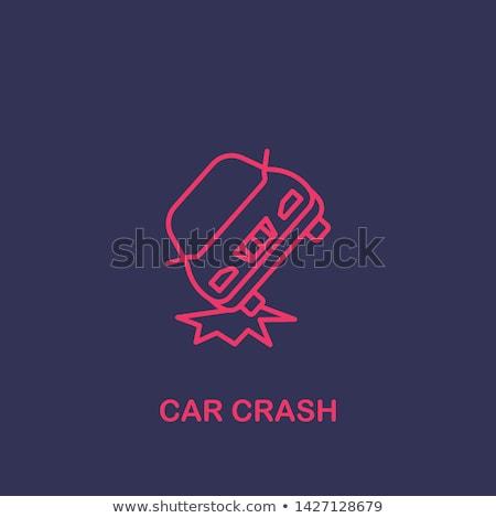 Botsing twee auto icon vector schets Stockfoto © pikepicture