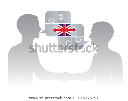 Two people with white speech bubbles with Great britain and China flags. Language study concept illu Stock photo © evgeny89