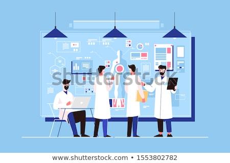 Mikrobiológia tanulás tudomány kutatás szalag tipográfia Stock fotó © barsrsind