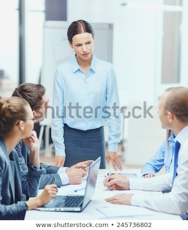 Tablet business woman worker serious working at office or courthouse reading news email. Asian Busin Stock photo © Maridav