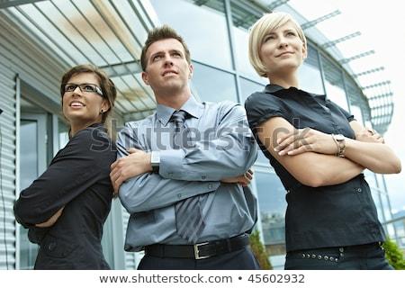 Portret drie zakenlieden buiten business kantoor Stockfoto © HASLOO