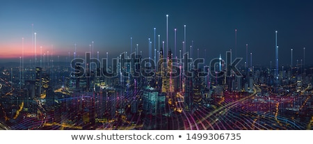 Foto stock: Comunicación · ciudad · móviles · ilustración · tecnología · fondo