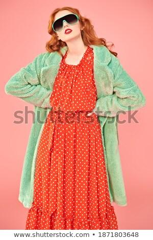 Gorgeous Redhead Fashion Model In Winter Fur Stock photo © stryjek