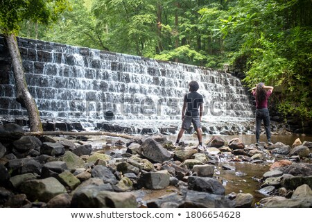 Man standing by a woodland stream Stock photo © photography33