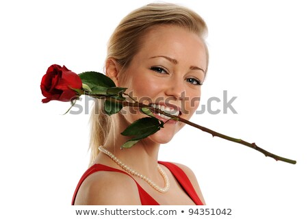 Nő tart szár fogak virág arc Stock fotó © photography33