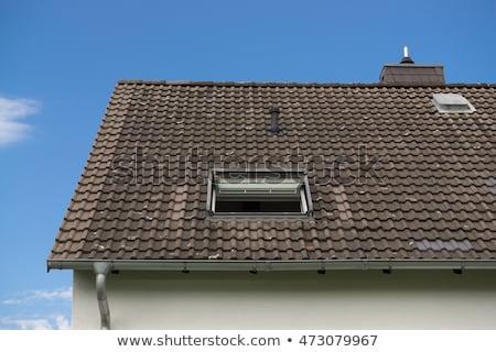 tető · csempe · kék · ég · napos · idő · otthon · nyár - stock fotó © happydancing