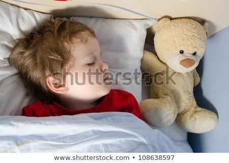 Stockfoto: Weinig · baby · jongen · slaap · teddybeer · speelgoed