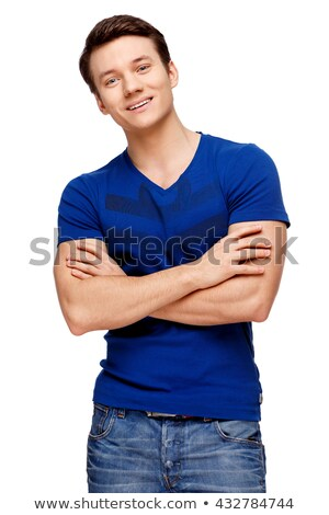 Young muscular man over white background  stock photo © Nobilior