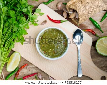 Verde coentro molho pimenta manjericão de Foto stock © ziprashantzi