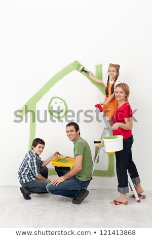 Family with kids redecorating their home stock photo © ilona75