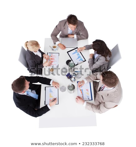 mulher · de · negócios · trabalhando · laptop · isolado · branco · um - foto stock © wavebreak_media