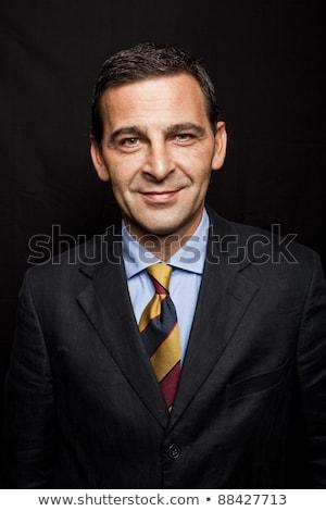 senior · zakenman · portret · zwart · pak · witte · grijs · haar - stockfoto © lunamarina