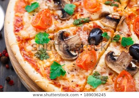 Stockfoto: Vegetarisch · pizza · handen · afrikaanse · vrouw · aubergine