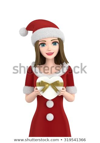 meisje · kerstman · kleding · mooie · gelukkig - stockfoto © stepstock