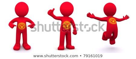 3D karakter vlag Kirgizië geïsoleerd Stockfoto © Kirill_M