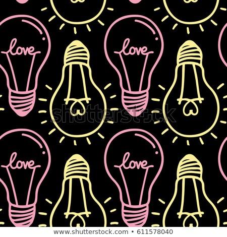 Heart seamless love light bulb vector Stock photo © Hermione