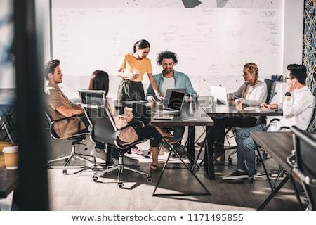 adam · oturma · karşı · kadın · ofis · toplantı - stok fotoğraf © andreypopov