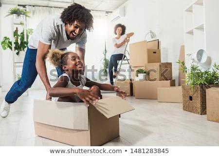 Nő mozog új ház barátságos segítség hordoz Stock fotó © Kzenon