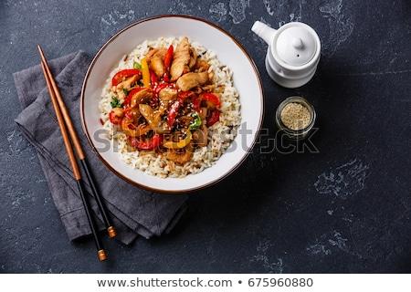палочки для еды черный салфетку можете бумаги продовольствие Сток-фото © alekleks