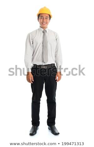 Asian mannelijke Geel veiligheidshelm Stockfoto © szefei