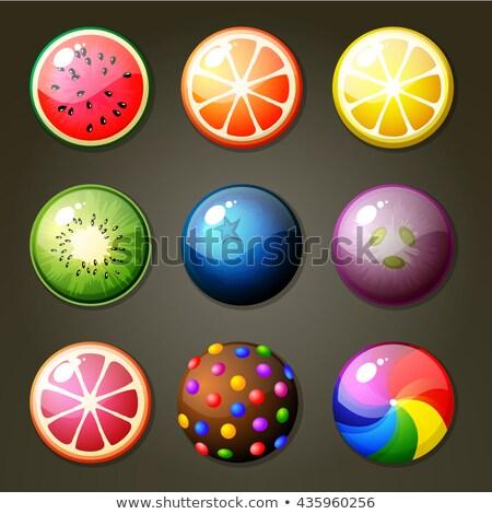 Cristalizado kiwi fruto branco fundo grupo Foto stock © jirkaejc