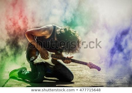 siyah · hüzün · gitar · grunge · kaya · rulo - stok fotoğraf © shivanetua