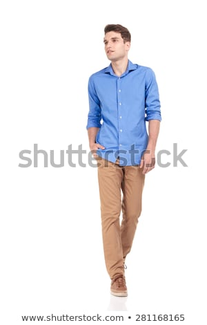 man on the side walk with his hand in pocket Stock photo © feedough