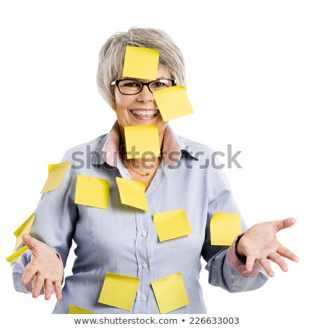 Elderly woman with yellow notes Stock photo © iko