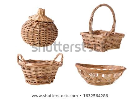 Pusty wiklina koszyka mały odizolowany biały Zdjęcia stock © designsstock