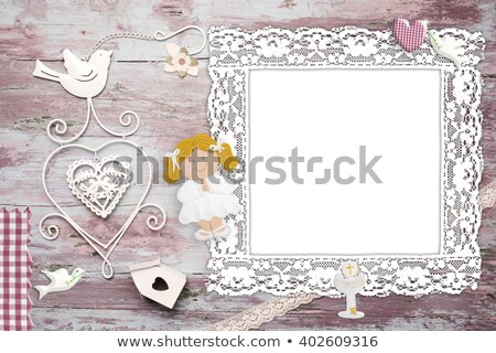First Communion blonde girl reminder card Stock photo © marimorena