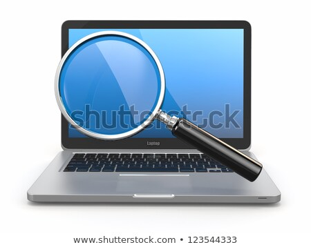 magnifier and laptop on white background isolated 3d image stock photo © iserg