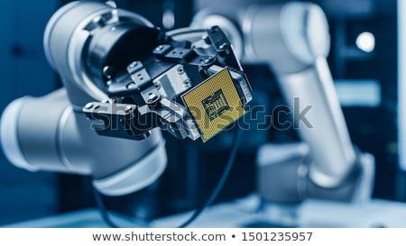 シリコン · マイクロチップ · 先頭 · 表示 · マイクロプロセッサ · ワッフル - ストックフォト © idesign