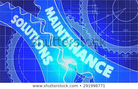 Wartung Lösungen Blaupause Zahnräder technischen Zeichnung Stock foto © tashatuvango