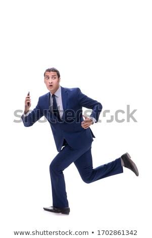 Business man affraid talk phone Stock photo © fuzzbones0