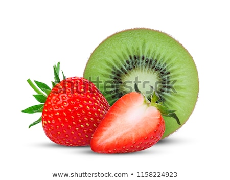 Foto stock: Kiwi · morangos · fatias · fruto · congelada · água