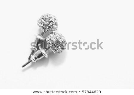 dois · prata · brincos · diamantes · branco · moda - foto stock © kirs-ua