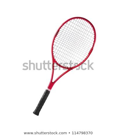 Kırmızı tenis raketi yalıtılmış beyaz tenis dişli Stok fotoğraf © tetkoren