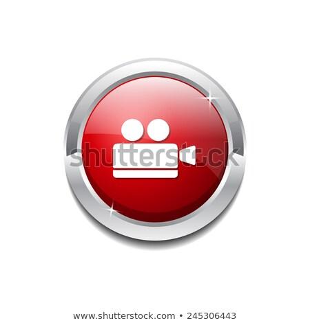 Caméra rouge vecteur icône bouton internet Photo stock © rizwanali3d