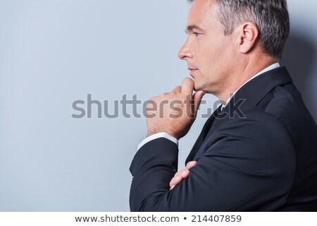 knap · zakenman · camera · portret · grijs - stockfoto © feedough