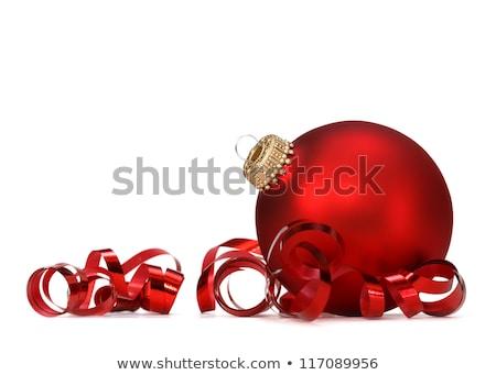 赤 クリスマス ボール 白 背景 スペース ストックフォト © plasticrobot